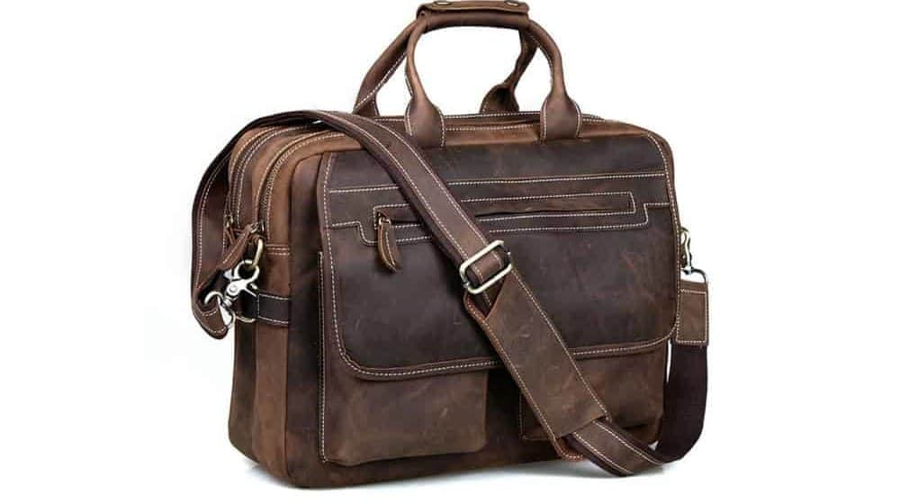 """Kattee Crazy-Horse Leather Briefcase 16"""" Laptop Tote Shoulder Bag Review"""