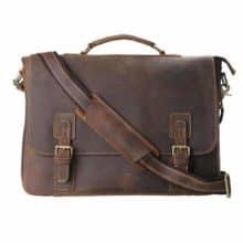 Kattee Men's Leather Satchel Briefcase, 16